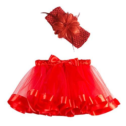Lazzboy Mädchen Kinder Tutu Party Dance Ballett Kleinkind Baby Kostüm Rock + Stirnband Set Tüllrock Regenbogen Tütü Ballettrock(Rot,S) (Second Hand Tanz Kostüm)