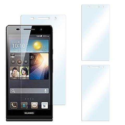 2x Huawei P6 Schutzfolie Klar Display Schutz [Crystal-Clear] Screen protector Bildschirm Handy-Folie Dünn Displayschutz-Folie für Huawei Ascend P6 Displayfolie