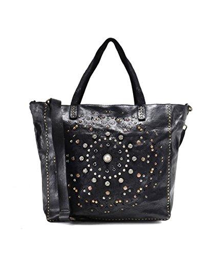 Campomaggi Damen verzierte Leder-Shopper-Tasche Schwarz Ein Größe (Verziert Shopper)