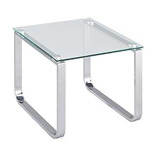 ASPECT Sloane Rectangular Side Table-Chrome/Clear