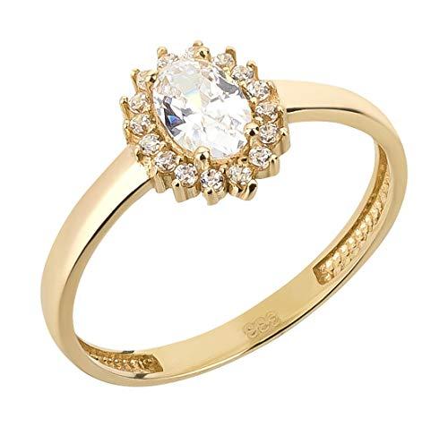 Ardeo Aurum Damenring aus 333 Gold Gelbgold mit Zirkonia im Oval-Schliff und Brillant-Schliff Solitär-Ring Verlobungsring