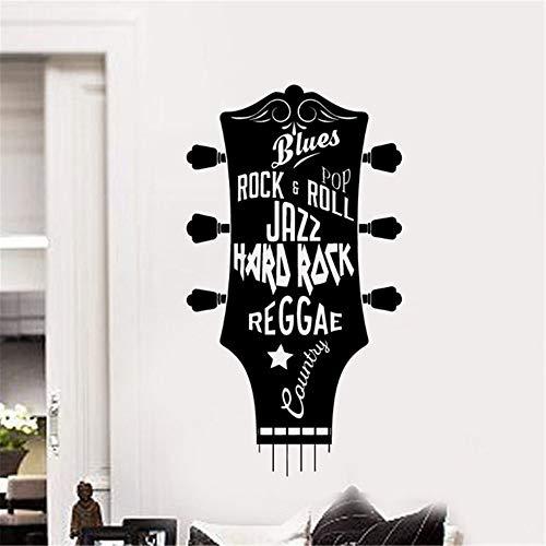 (haotong11 Gitarre Vinyl Wandaufkleber Musical Wandkunst Dekoration Gitarre Kopf Wandbild Hard Rock Musik Wand Decals42 * 76 cm)
