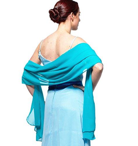atopdress - Robe - Portefeuille - Sans Manche - Femme Noir noir bleu aqua