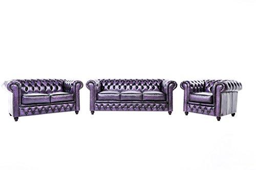 Original Chesterfield Sofas und Sessel – 1 / 2 / 3 Sitzer – Vollständig Handgewaschenes Leder – Antik Violett