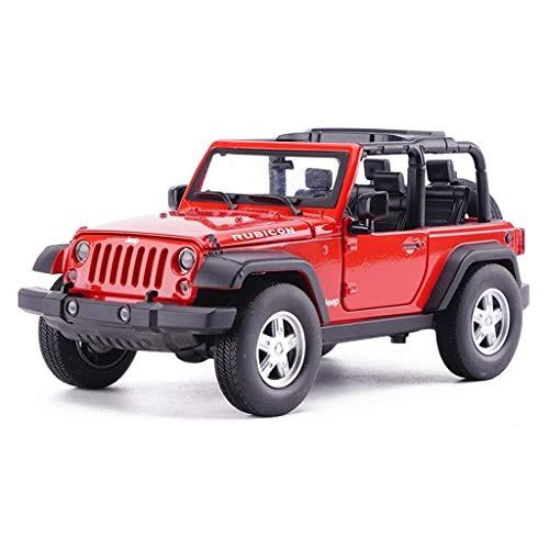 SSBH Legierung automodell, 1:24 Jeep Wrangler geländewagen Simulation kinderspielzeug Ornamente, rot Erwachsene Kinder Holz und Mustang Kleinkinder Metall Auto Spielzeug, rot, 17,5x8,5x7,5 cm