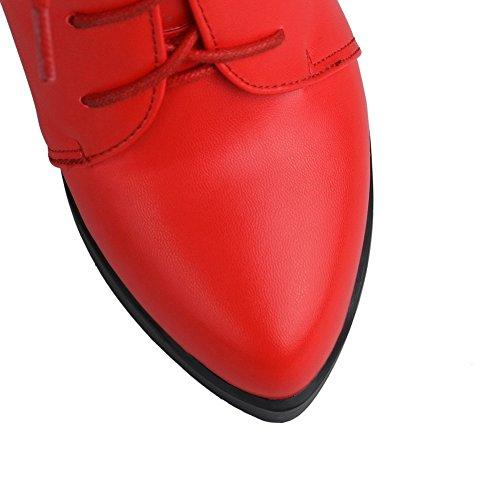 VogueZone009 Donna Punta Chiusa Puro Bassa Altezza Tacco Alto Stivali con Metallo Rosso
