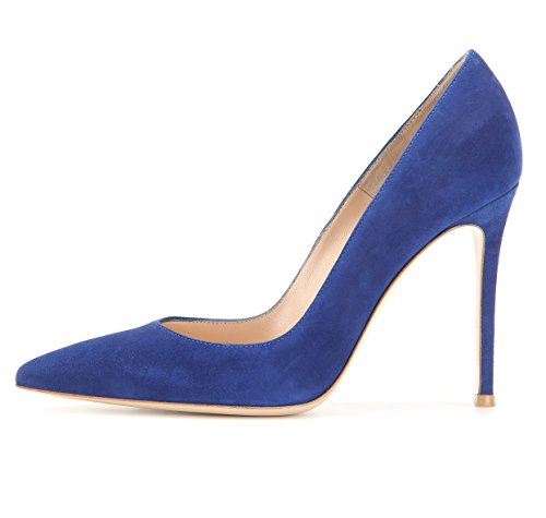 Soireelady Donna Tacco Alto Festa Eleganti Scarpe de Moda Décolleté a Punta Taglia,Blue EU39