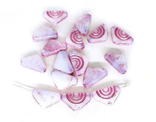 20pcs Opal Weiß Rosa Waschen Dreieck Tschechische Glas Flach Fahne Perlen Geschnitzt 12mm x 7mm -