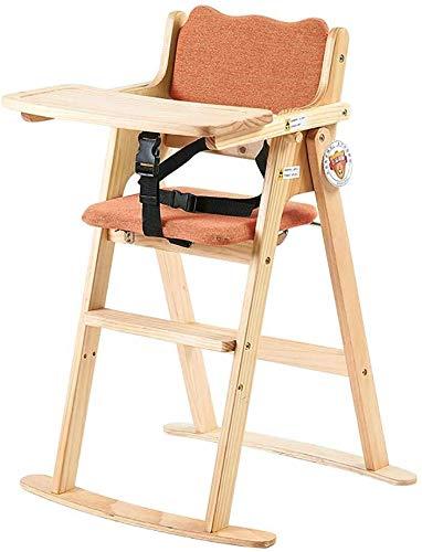 LAZ Holz Baby-Hochstuhl Höhenverstellbarer Feeding Stuhl mit 5-Punkt-Gurt 2in1 Tablett + Hochstuhl Sitzkissen (Farbe : Orange)