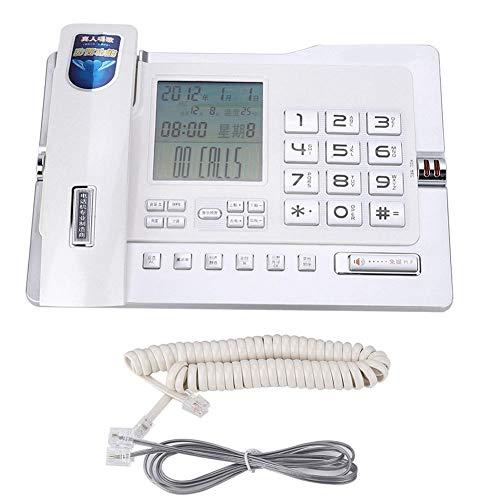 Qiterr Festnetztelefon, G026 Einfaches Tischtelefon für den Heimarbeitsplatz(Weiß) Paging-adapter