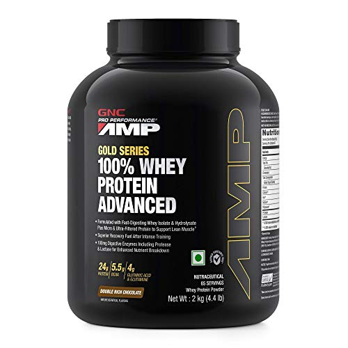 GNC Amp Gold Series 100% Whey Protein Advanced - 4.4 lbs, 2Kg (Double Rich Chocolate)