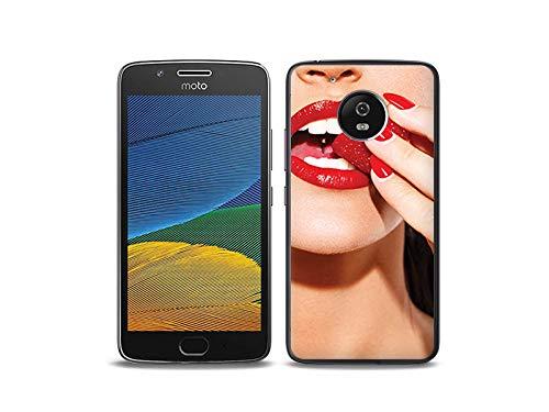 etuo Lenovo Moto G5 - Hülle, Silikon, Gummi Schutzhülle - Rote Lippen