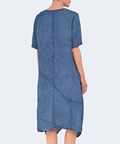 Grizas Femmes Robe de lin drapé Bleu Bleu