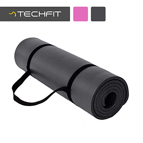 TechFit Tapis de Yoga et Fitness, Extra Epais 10mm, 180 x 60 cm, Parfait pour des Exercices au Sol, Le Camping, Le Gym, des Stretching, des Abdominaux, Les Pilates (Noir)