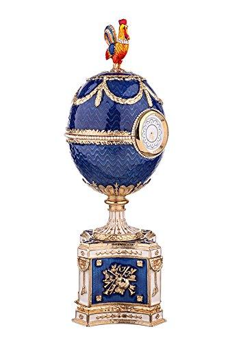 Dekorativer Russische Fabergé-Stil Ei / Spieluhr Huhn mit Uhr 22,5 cm blau