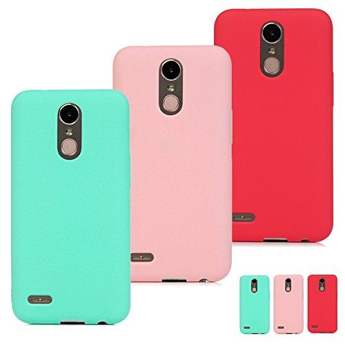 3 Unidades Funda Silicona para LG K10 2017, Flexible Cascara Ultrafina Suave, Case Anti-Rasguño y Resistente Huellas, Premium Gel TPU Cover Goma - Menta Verde + Rosa + Rojo