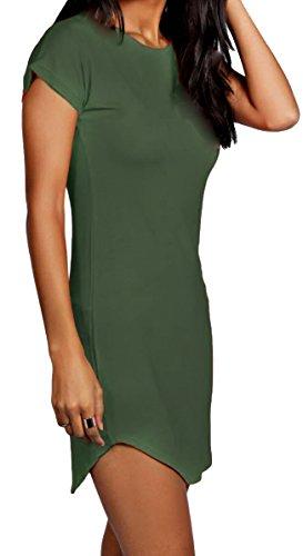 Re Tech UK - Damen T-Shirt-Kleid - figurbetont & hüftlang - geschwungener Saum - Stretchmaterial - Khaki - 34-36 - Khaki T-shirt Kleid