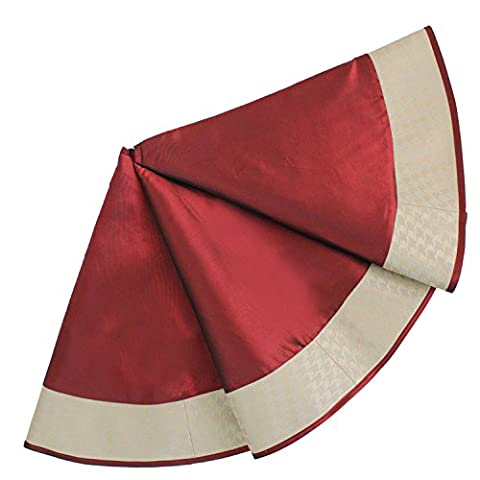 Sorrento Luxurious Faux Silk Jacquard gold Houndstooth design border Christmas Tree Skirt Burgundy-36
