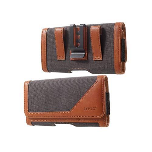 DFV mobile - Etui mit Horizontalem Metallen Gürtelschlaufen Case Gürtelclip Textil und Leder für => ARCHOS Elements 50D Oxygen (2016) > Grau/Braun