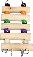 KSK Colorful and Funny Wooden Pet Bird Parrot Toy Wooden Toys Mouse Hamster Parrot Hanging Ladder Small