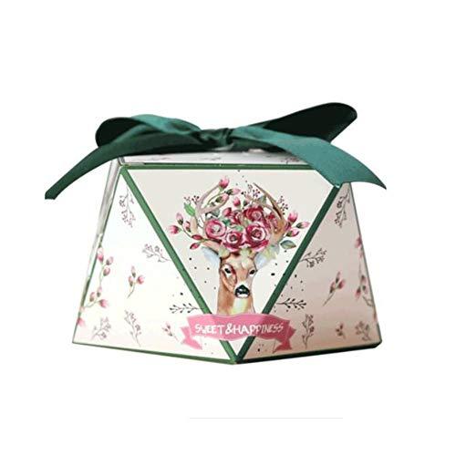 Chinashow 50 Stück Dekorative Festlichkeits-Kasten-Hochzeitsfest-Bevorzugungs-Kasten-Süßigkeits-Taschen-Schokoladen-Geschenkboxen Elch
