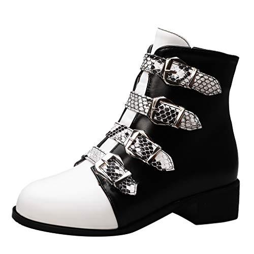 Deloito Damen Schnalle Flache Schuhe Runder Zeh Chelsea Booties Niedriger Absatz Schlange gedruckt Kurz Stiefel Lässig Große Stiefeletten (Weiß,35.5 EU) (Schlange Designer-schuhe)