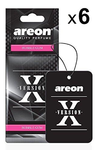 AREON X Auto Lufterfrischer Bubble Gum Duft Autoduft Kaugummi Schwarz Aufhänger Anhänger Spiegel Pappe 2D (Bubblegum Set Pack x 6)
