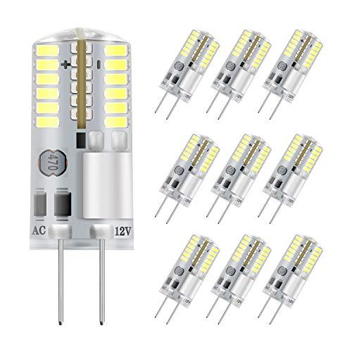 DiCUNO G4 LED Lampe 3W, kaltweiß 6000K, AC/DC 12V Glühlampen, 250 LM, Ersatz für 30W Halogen Lampen, nicht dimmbar,LED Stiftsockellampe, kleine Glühlampe 10-Pack [Energieklasse A+] -