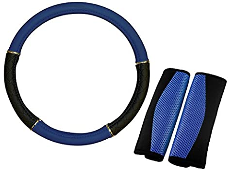 XtremeAuto® BLUE/BLACK, Leather Look steering wheel cover and soft mesh, seat belt pad, styling set.