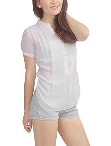 Allegra K Femme Col Montant boutonné T-Shirts côTé Shirred Manche Courte Haut Blanc