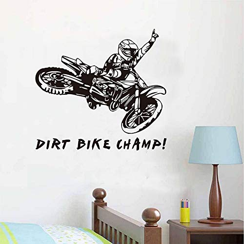 【mzdzhp】【Kann angepasst werden, Größe, Farbe, DIY-Muster】Dirt Bike Champ Zitate Wandaufkleber Motorradfahrer Vinyl Aufkleber Abnehmbare Tapete Adesivos De Parede Room Decor (Gold Bike Dirt)
