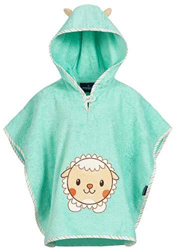 Morgenstern Handtuchponcho aus Baumwolle Türkis mit Kapuze und Schaf Stickerei - Bademantel Baby-mädchen