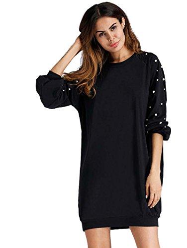ROMWE Damen Elegant Sweatshirt Kleid mit Perlen Raglanärmel Lockeres Lässiges Kleider Schwarz S (Ärmel Kurze Perlen)