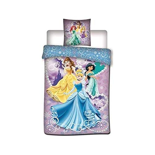 Choren Kids Princesa Disney Funda de edredón de niña con Funda de Almohada–200x 140cm–Parrure Aurora Cenicienta Jasmine
