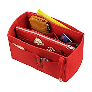 [Fits Artsy MM, Red] Felt Organizer (with Detachable Middle Zipper Bag), Bag in Bag, Wool Purse Insert, Customized Tote Organize, Cosmetic Makeup Diaper Handbag