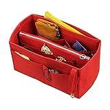 [Passt Neverfull MM / Speedy 30, Rot] Filz-Organizer (mit abnehmbaren mittleren Reißverschluss-Tasche), Tasche in Tasche, Wolle Geldbörse einfügen, individuelle Tote organisieren, Kosmetik-Make-up-Windel-Handtasche