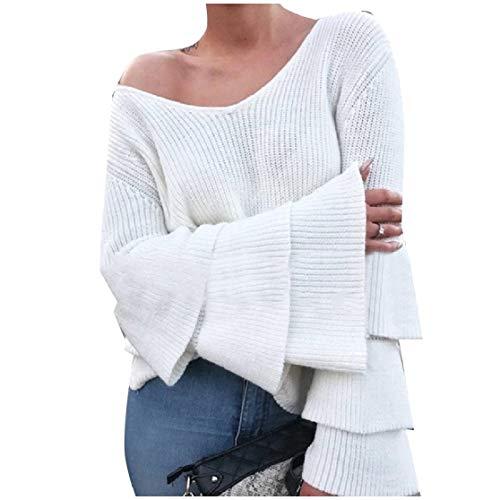 CuteRose Womens Pure Color Trumpet Sleeve V Neck Knitting Tunic Top White S -