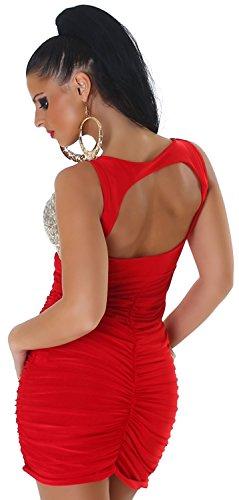 Jela London Damen Träger-Kleid mit Pailletten verziert Einheitsgröße (34-38) rot Pailletten: silber-gold