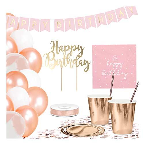 DekoGuru® Partyset in rosé Gold - für 18 Personen (Happy Birthday) -