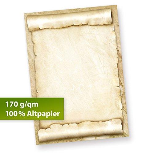 TATMOTIVE Briefpapier Urkundenpapier blanko (100 Blatt) 170 g/qm A4 Pergamentrolle als Briefe, Zertifikate und Urkunde, für Firma Geburtstag, Hochzeit, Verein uvm.