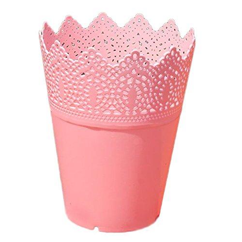 Gespout Pots de Fleurs Petit Plastique Convient aux Bureaux et balcons Multi-Usage (Rose)