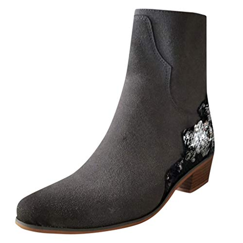 Xuthuly Mode Frauen Leopardenmuster Patchwork Western Knight Ankle Booties Damen Klassische Flock Single Schuhe mit niedrigen Absätzen