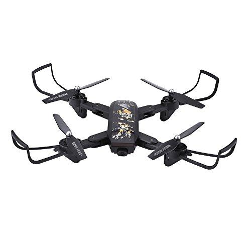 Wifi RC Quadcopter, Control Remoto Plegable Drone 6-AXLE 2.4GHz Drone Altitude Hold Luz LED Modo sin Cabeza Quadcopter Toy con Cámara de 2MP