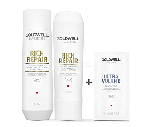 Goldwell Dualsenses Rich Repair Aufbau Set - Shampoo 250ml + Conditioner 200ml + Ultra Volume Kräftigendes Shampoo Sachet 10ml -