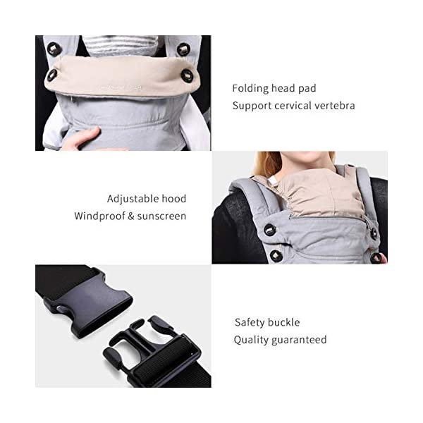 SONARIN 4 in 1 Breathable Baby Carrier,3D Breathable mesh,Sunscreen Hood,Ergonomic,for Newborn to Toddler(3-48 Months),Maximum Load 20kg,Front Facing Baby Carrier,Suitable for Summer(Pink) SONARIN Applicable age and Weight:3-48months of baby, the maximum load:20KG, and adjustable the waist size can be up to 47.2 inches (about 120 cm). Material:designers carefully selected soft and delicate breathable mesh.Enhanced breathability,Soft machine wash,do not fade,ensure the comfort,high strength,safe and no deformation,to the baby comfortable and safe experience. Description:Patented design of the auxiliary spine micro-C structure and leg opening design,natural M-type sitting.Adjustable back panel that grows with baby and offers head and neck support with sleeping hood that provides UV50+ sun protection. 5
