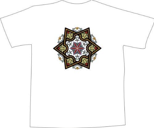 T-Shirt F1141 Schönes T-Shirt mit farbigem Brustaufdruck - Ornament Blume und Stern Weiß
