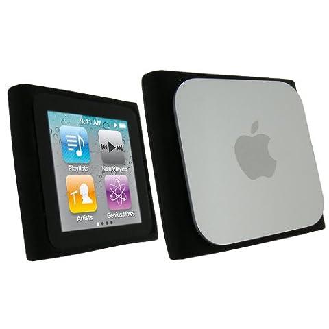 igadgitz Housse Etui Pochette Coque Case en Silicone de couleur Noir pour Apple iPod Nano 6G 6ème Gen Génération 8 go gb & 16 go gb + protecteur d'écran