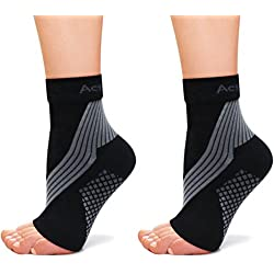 ActivSocks Ankle Support Compression Sleeves | PAIR of Pressure Therapy Socks for Achilles Tendonitis, Plantar Fasciitis and Foot/Heel Pain Relief Black XS: UK 1-3 EU 33-36
