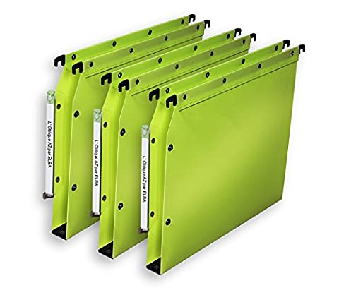 L'Oblique AZ Polypro Ultimate Boite de 10 Dossiers suspendus pour armoire fond 30mm Vert