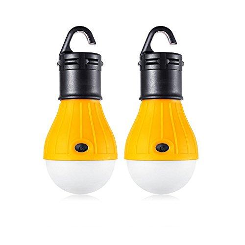 2Stück LED Camping-Laterne Leuchtmittel–Sun Run Zelt Lichter, Notfall Nacht Lampe für drinnen und draußen Wandern Angeln, tragbar, batteriebetrieben, gelb